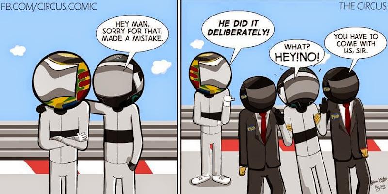 Льюис Хэмилтон сдает Нико Росберга FIA - комикс The Circus по Гран-при Монако 2014