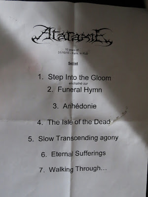 Ataraxie : set-list@ Le Klub, Paris 31/10/2010