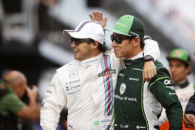 Фелипе Масса и Камуи Кобаяши обнимаются перед гонкой на Гран-при Австралии 2014