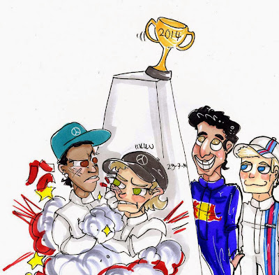 Хэмилтон и Росберг рискуют упустить титул - комикс Iikku после Гран-при Венгрии 2014