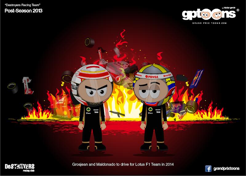 Destroyers Racing Team - Пастор Мальдонадо и Ромэн Грожан в Lotus - комикс Grand Prix Toons