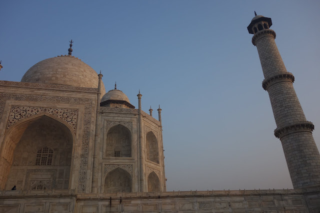 A closer view, including one of the four minarets.