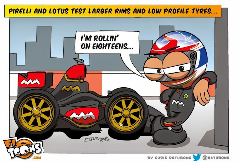 Lotus на 18-дюймовой резине Pirelli - комиксы Chris Rathbone