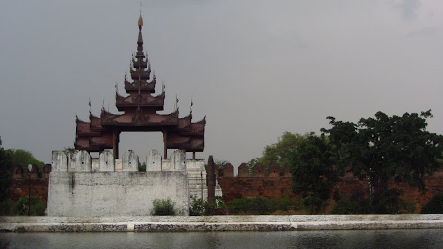 Moat and outer wall of the Mandalay Palace.