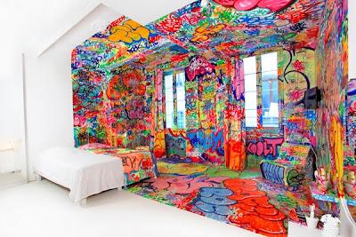 Half Graffiti Hotel Room By Tilt Seen On www.coolpicturegallery.us