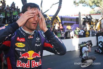 Марк Уэббер фэйспалмит после финиша Гран-при Монако 2013