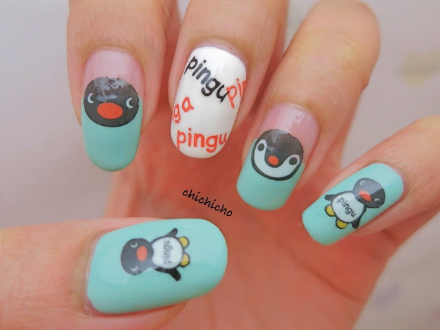 Pingu Water Decal Nail Art