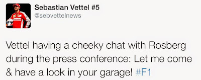 Vettel having a cheeky chat with Rosberg during the press conference: Let me come & have a look in your garage! #F1