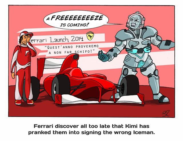 Кими Райкконен подсовывает неправильного Айсмэна для Ferrari - комикс Stuart Taylor по Гран-при Сингапура 2013