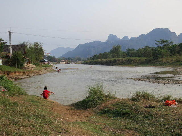 """The Nam Song river running through VV. Home to the infamous """"tubing""""."""