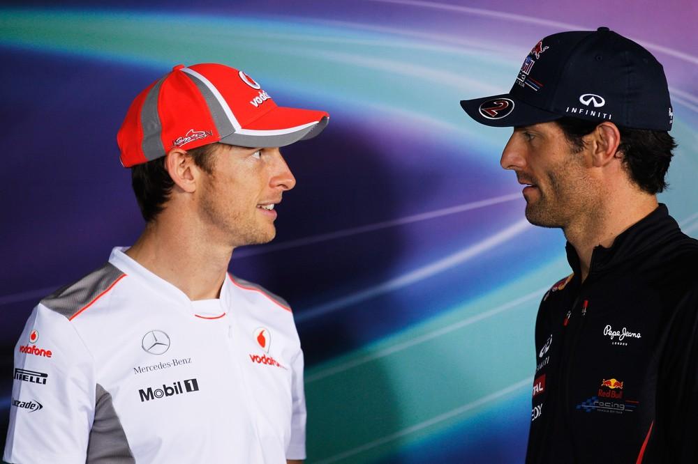 Дженсон Баттон и Марк Уэббер на пресс-конференции в четверг на Гран-при Австралии 2012