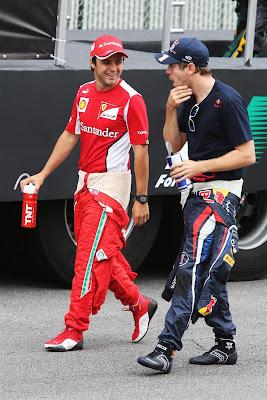 Фелипе Масса и Себастьян Феттель на параде пилотов Гран-при Бразилии 2012