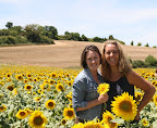 Hilary with Laure in Sunflower Field (July 2011, WineInProvence)