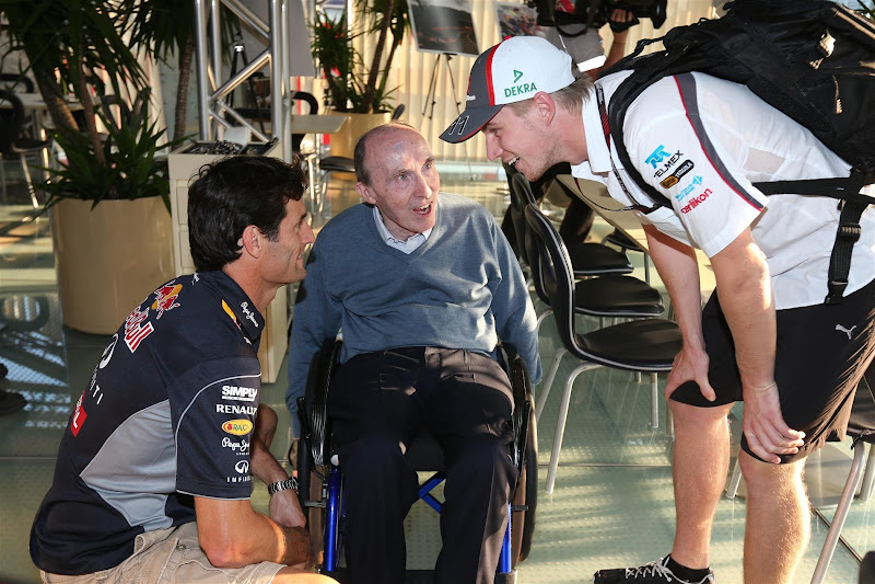 Фрэнк Уильямс со своими бывшими пилотами Марком Уэббером и Нико Хюлькенбергом на Гран-при Италии 2013