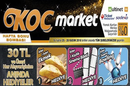 Koç Market Tüm Şubelerde 25-28 Kasım 2016 İndirimleri