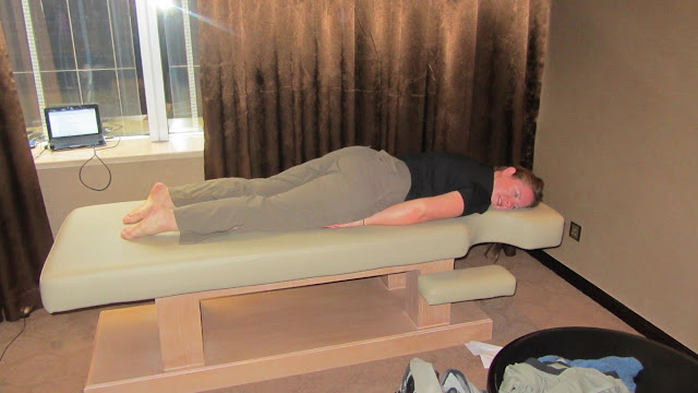 Heather on the in-room massage table.