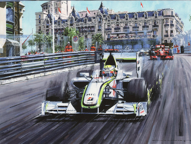 Дженсон Баттон на Brawn GP впереди Ferrari Фелипе Массы на на пути к победе на Гран-при Монако 2011 - картина Nicholas Watts