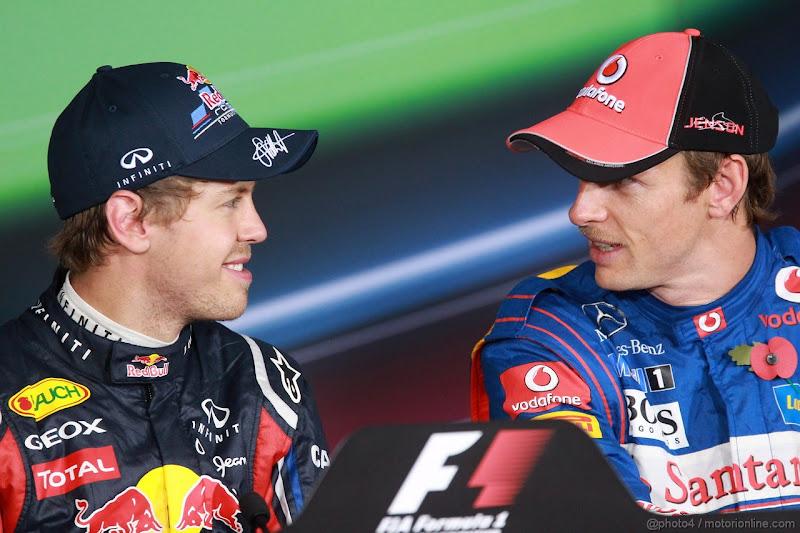 Себастьян Феттель и Дженсон Баттон на пресс-конференции после квалификации на Гран-при Абу-Даби 2011