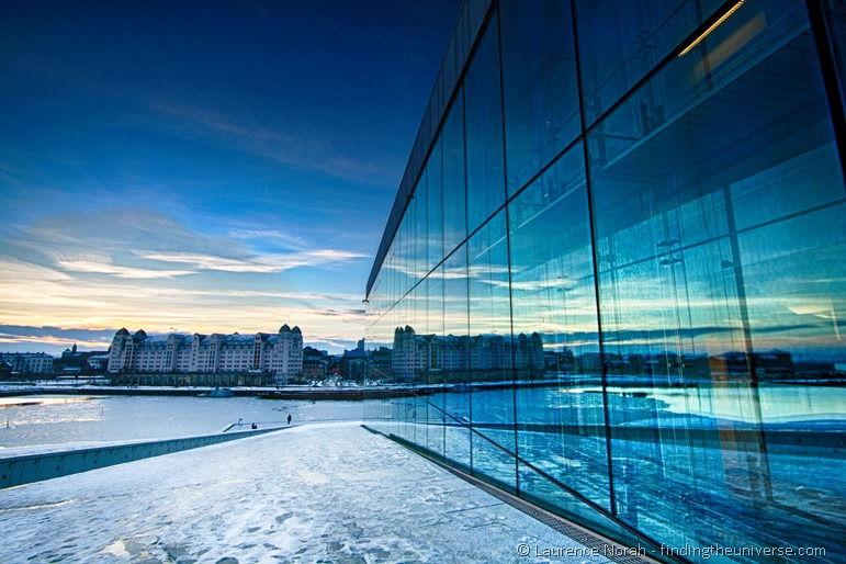 Sonnenuntergang von Oslos Oper aus gesehen