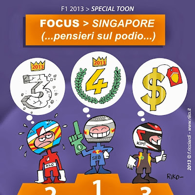 мысли пилотов на подиуме Гран-при Сингапура 2013 - комикс Riko