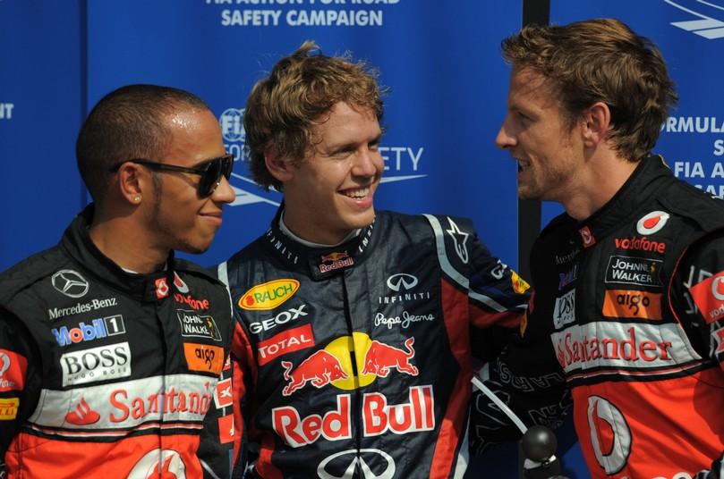 Льюис Хэмилтон, Себастьян Феттель и Дженсон Баттон после квалификации на Гран-при Италии 2011