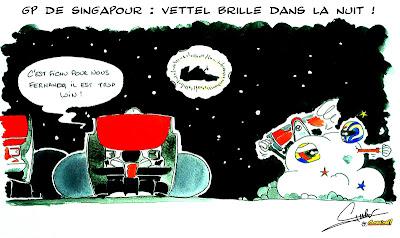 Себастьян Феттель сияет в ночном небе - комикс Quentin Guibert по Гран-при Сингапура 2011