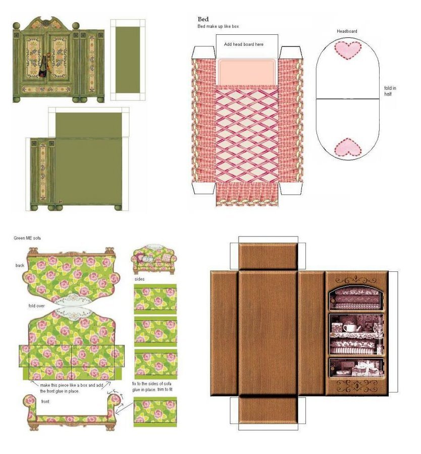 Как сделать мебель для макета из картона