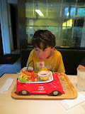 Eidan reacting to his lunch at the Nakatanaka restaurant