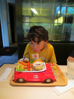 Eidan reacting to his lunch at the Nakatanaka restaurant