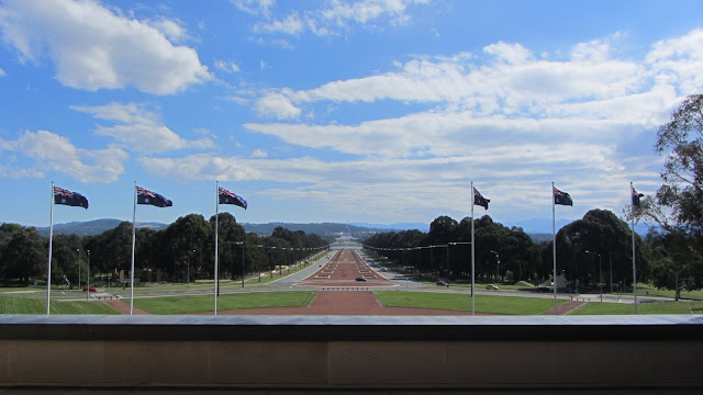 Looking down ANZAC Parade towards Parliament House, Canberra.