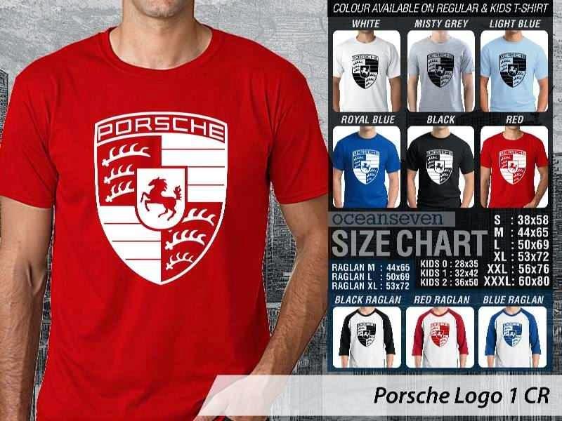 KAOS Porsche Logo Otomotif distro ocean seven