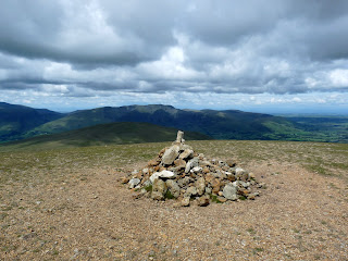 Great Dodd Summit looking towards Clough Head and Blencthra.