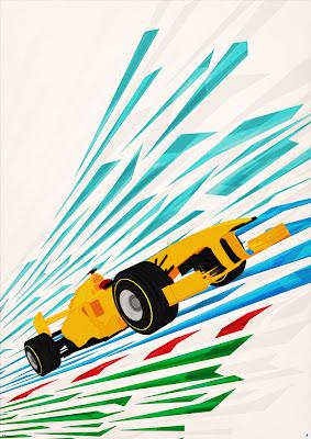 иллюстрация болида Формулы-1 на трассе от PJ Tierney