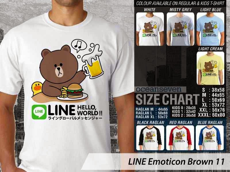 KAOS IT LINE Emoticon Brown 11 Social Media Chating distro ocean seven