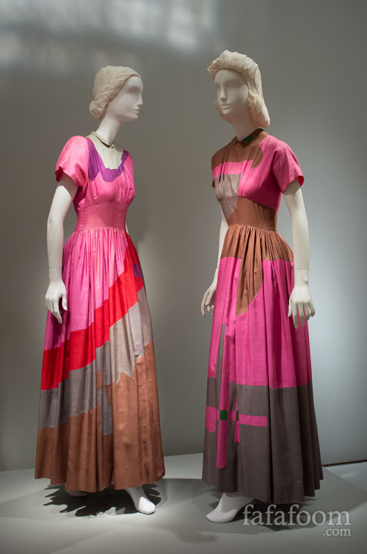 Gilbert Adrian, Dinner dresses, 1944 (left) and 1948–49 (right).