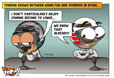 Напряжение между Хэмилтоном и Росбергом нарастает - комикс Chris Rathbone по Гран-при Испании 2014