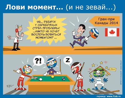 Даниэль Риккардо пользуется моментом и одерживает победу - комикс Riko по Гран-при Канады 2014
