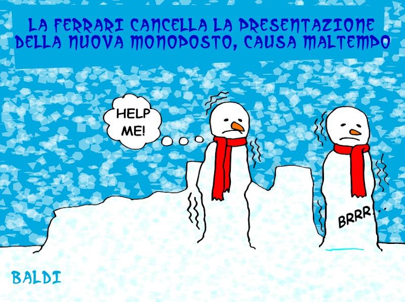 Ferrari отменила презентацию нового болида из-за плохой погоды - комикс Baldi