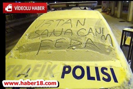 Çankırı'da Vatan Sevgisini Polis Otosuna Yazdılar