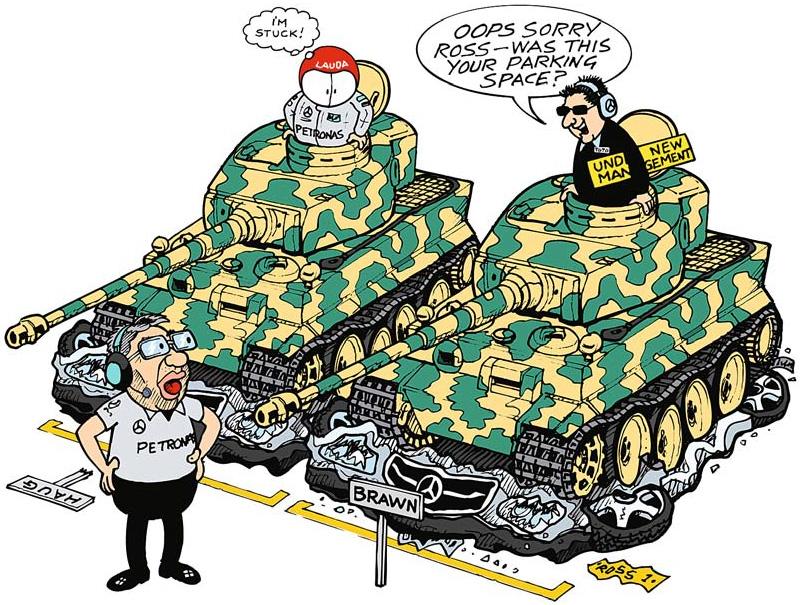 Михаэль Шумахер и его менеджер на танках давят Mercedes - комикс Jim Bamber