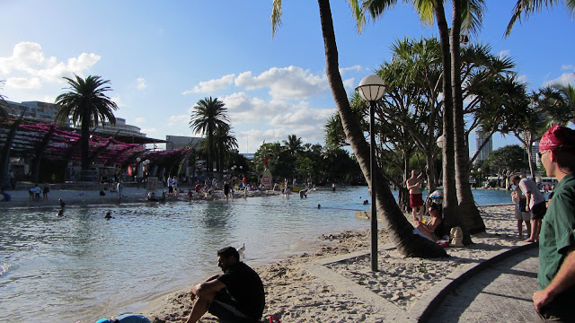 A public swimming area and park along Brisbane's South Bank.