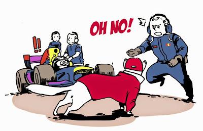 Кими Райкконен спасен от дорожной аварии - комикс Sunday Jorge по Гран-при Монако 2014