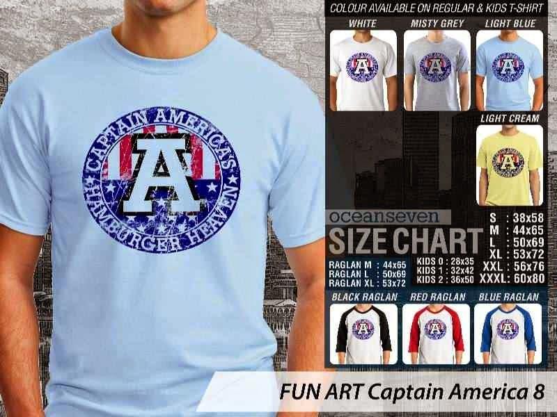 KAOS Captain America 8 Kartun Lucu distro ocean seven
