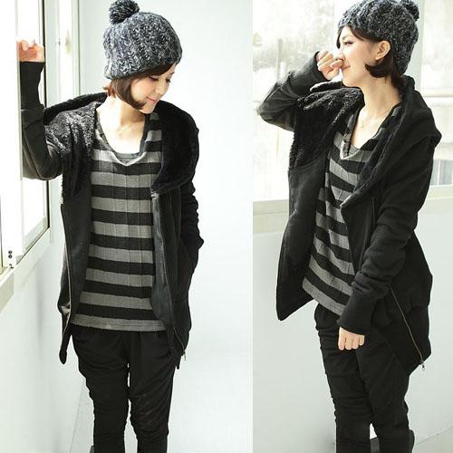 Korea-Women-Vogue-Hoodie-Pullover-Long-Sleeve-Hip-length-Sweats-Outerwears-uR