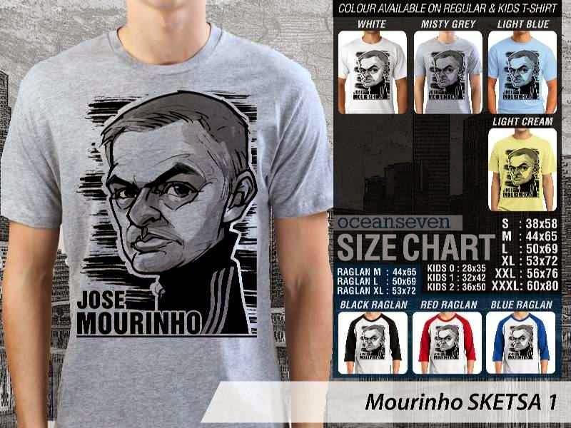 KAOS Jose Mourinho Artwork Sketsa distro ocean seven