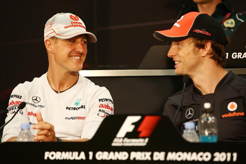 Михаэль Шумахер и Дженсон Баттон на пресс-конференции в среду на Гран-при Монако 2011