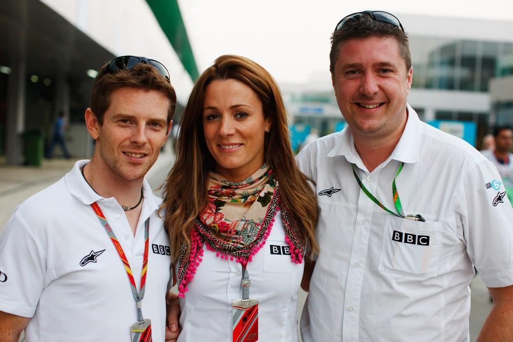 Энтони Дэвидсон Натали Пинкхэм Дэвид Крофт - команда BBC на Гран-при Индии 2011