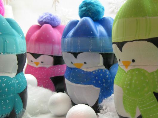 Paolita Mimos: Enfeite de natal pinguins de garrafa PET passo a passo