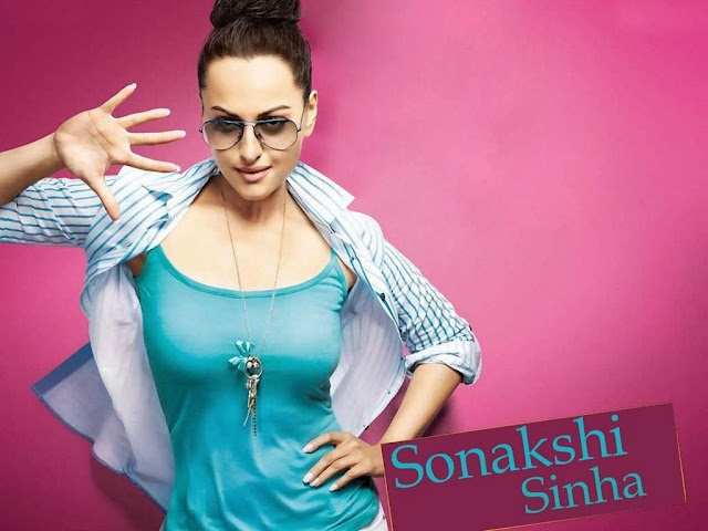Sonakshi Sinha During the Dancing Step Photoshoot in Blue Top and Shirts With Bun Hairstyles