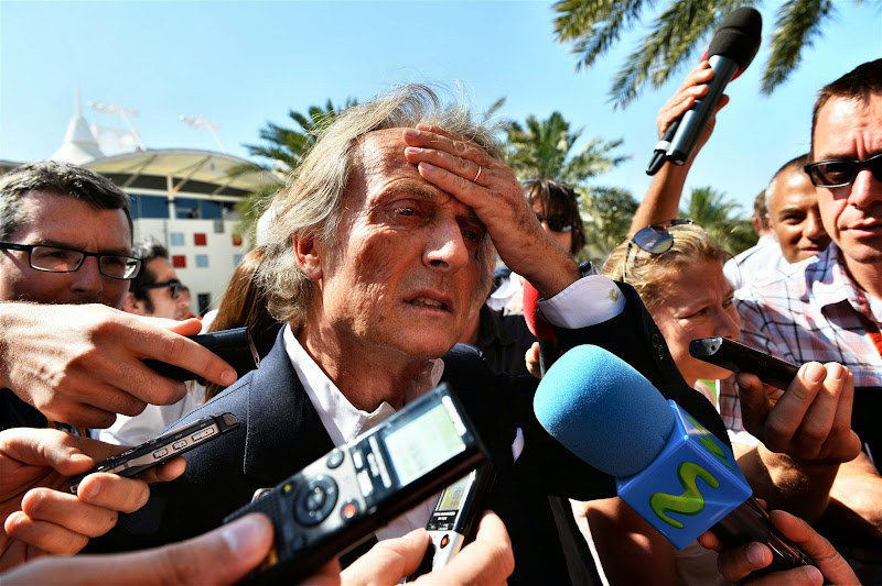Лука ди Монтедземоло фэйспалмит во время интервью на Гран-при Бахрейна 2014